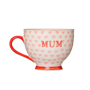 Sass & Belle - Bohemian Red Hearts Mum Mug, Coffee Cup, Mothers Day Gift