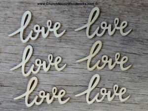 25 Cursive love wood letter word embellishment Wedding Decor craft supply wooden