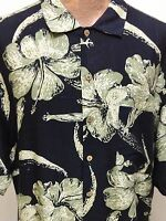 Tommy Bahama Relax L Black Green Floral Hawaiian Short Sleeve Silk Cotton Shirt