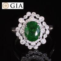 GIA Certified 2.66T No Heat Vivid Green Tsavorite Diamond 18 Karat Gold Ring