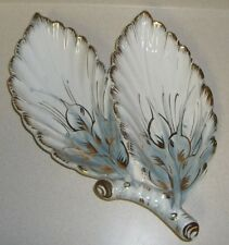 Vintage gold trim blue white gold leaf dish bowl on branch Italy Christmas decor