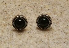 Center Circle Pierced Earrings New listing Silver with Black