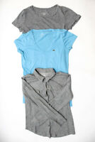 J Crew Lacoste Womens T-Shirts Long Sleeve Top Gray Blue Size S Lot 3