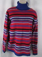 Women's Investments red white blue striped sweater Large New turtleneck