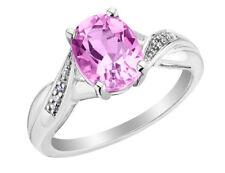 Cr. Розовый сапфир и бриллиант кольцо 2.0 Ctw в серебре