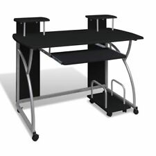 Home Computer Table Study Desk Office Work PC Station Storage Shelves Black