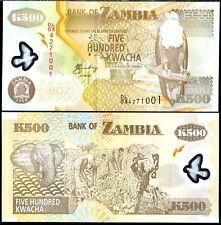 Zambia - 500 Kwacha - UNC polymer currency note