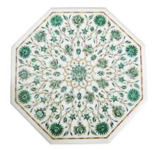 """15"""" White Marble Coffee Table Top Malachite Paua Shell Floral Christmas Gifts"""