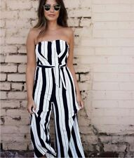 693d3938b80 NWOT H M BLACK WHITE STRIPE STRAPLESS CULOTTES BANDEAU JUMPSUIT PLAYSUIT 10  ...