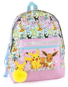 Pokemon Backpack Girls Pikachu Eevee Besties Kids Pink Glitter School Bag