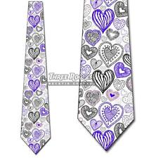 Doodles Dark Purple Hearts (White) Tie Men's Holiday Valentine's Neck Ties