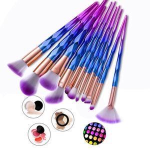 12x MakeUp Brushes Face Powder Blusher Eyeshadow Blue & Purple Makeup Brush Tool