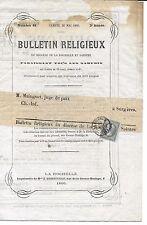 FRANCE N°19 1 C EMPIRE SEUL SUR DOC COMPLET DU 26/05/1866 BULLETIN RELIGIEUX