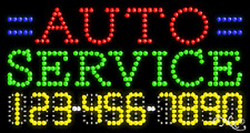 """New """"Auto Service"""" 32x17 w/Your Phone Number Solid/Animated Led Sign 25043"""