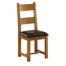 GENUINE SOLID OAK CHAIR / DINING CHAIR WITH LEATHER SEAT CHUNKY OAK