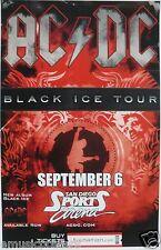 "AC-DC 2009 ""BLACK ICE TOUR"" SAN DIEGO CONCERT POSTER -Aussie Heavy Metal Legends"