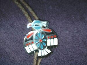 Zuni, Native Indian  EAGLE, , Multi-Stone Inlay  Bolo Tie