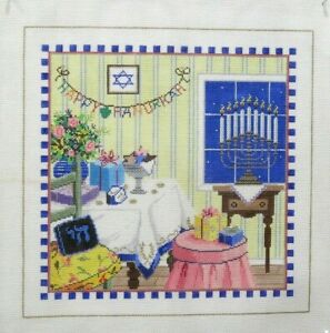 Sandra Gilmore Happy Hanukkah Handpainted Needlepoint Canvas SS