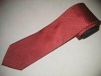 Tommy Hilfiger Tie Red White Dots Woven Luxury Designer Silk Jacquard Necktie