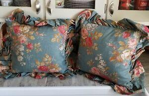 Gorgeous Vintage Pair Ralph Lauren Sinclair Floral Throw Bed Toss Pillows Down