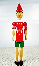 """Vintage Wooden Pinocchio Wood Figurine Dolls Jointed Sits Stands Turns 18"""" Tall"""