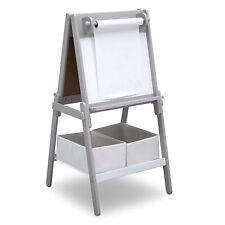 Delta Children MySize Kids Double-Sided Storage Basket Art Easel Stand, Grey
