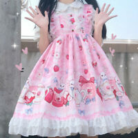 Women Girls Lolita Dress Lace Ruffle Frill Pleat Japanese Lovely Kawaii Cosplay