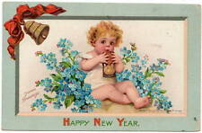 Brundage Art Postcard Baby New Year Chewing on Hourglass, Bell & Flowers~105990
