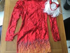 Ladies sexy devil fancy dress costume size medium dress horns wig & tail