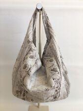 New Genuine Python Snakeskin Leather Large Hobo Shoulder Bag Handbag White