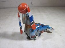 Vintage 1950's 1960's Tin Litho Wind Up Seal Ball Nose Spinner Toy