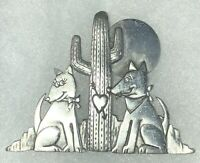 JJ Pewter Brooch - Romance In The Desert - Two Dogs Cactus Moon or Sun