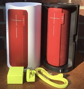 Red UE Megaboom Portable Bluetooth Speaker with Accessories Pls Read Description