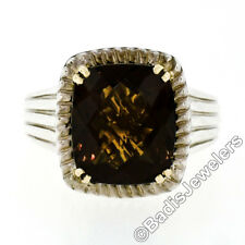 Charles Krypell 14k Gold Silver Cushion Checkerboard Smoky Quartz Solitaire Ring