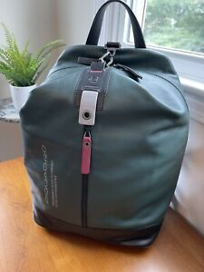 New Piquadro Active Green/Black Leather Men's Backpack with PC Compartment