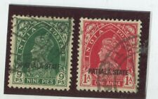India - Convention States - Patiala Stamps Scott  #82,83 (2) Used,VF (X6511N)