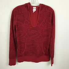 The North Face Blouse Hoodie Size M Floral Red Polyester Wool Pullover Womens