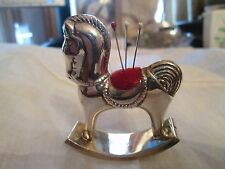 Vintage sterling silver rocking horse pin cushion signed wt 23 gms