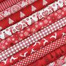 Scandi Christmas 2017 Red Fabric ~ Makower / stocking star tree reindeer heart