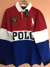 """RALPH LAUREN  Big Pony /& /""""Cookie Patch/"""" Long Sleeve Rugby in  Red White /& Blue"""