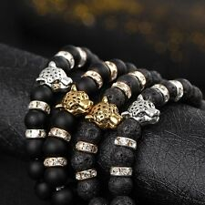 Natural Volcanic Lava Stone Bracelet Bangle Leopard Lion Head Crystal Beads