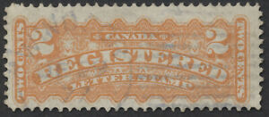 Canada #F1 2c Registered Letter Stamp, Blue Windsor (Ont?) Duplex DE 29 77