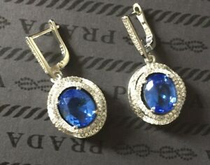 New Natural Blue Tanzanite Gemstone Handmade 925 Silver Jewels Earrings Gift