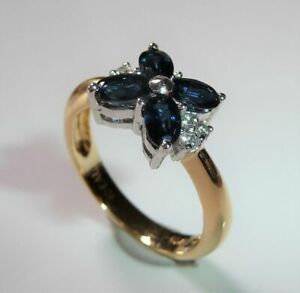 750 Gold Ring - 1.00 CT Sapphire - 0,12 CT Diamonds Size: 55/17,5mm Changeable