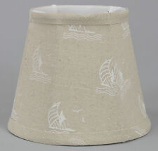 Boat on Natural Linen Shade,Softback,4x6x5,Candle Clip Fitter