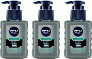 3 PC x 150 ML Nivea Men Oil Control All-in-One Face Wash Pump - Free Shipping