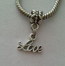 Love Word Message Slide Dangle Bead Fits Most European Charm Bracelets Necklace
