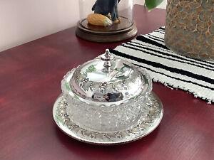 Antique Art Nouveau Silver Plated Butter Dish & Liner By Joseph Parker ~ C1900
