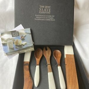 The Just Slate Company Rosewood Accessory Set For Cheese Bnib