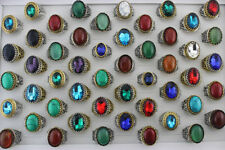 Wholesale Mixed Lots 30pcs Natural Stone Glass Rings Fashion Jewelry Cool Gifts